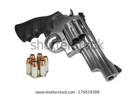 Large caliber revolver with moonclip - stock photo