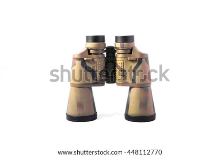 large camouflaged, khaki, black binoculars isolated on white. especially for hunters and military
