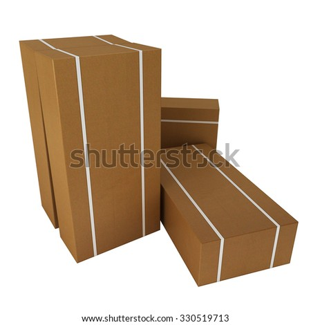 large cardboard boxes for freight to be dispatched isolated on white