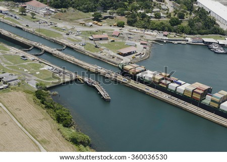 large cargo ship exiting Gatun Locks, Panama Canal - stock photo
