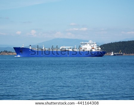 Large Cargo Ship in the Puget Sound Washington USA