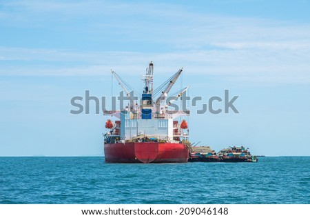 large cargo ship over the sea, thailand