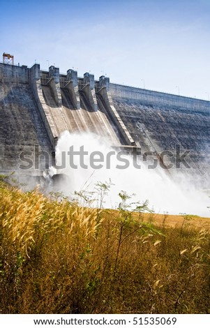 Large cement dam in Thailand. - stock photo