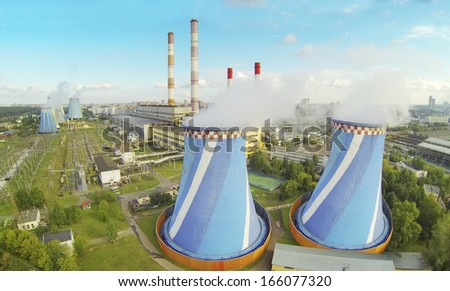 Large Central Heating and Power Plant at day. View from unmanned quadrocopter. - stock photo