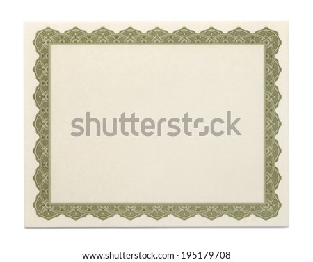 Large Certificate with Copy Space Isolated on White Background. - stock photo