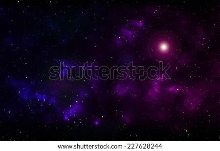 Large clouds of gas glowing deep in space - stock photo