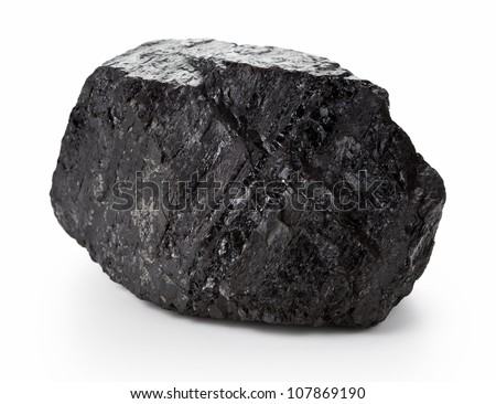 Large coal lump isolated on white background