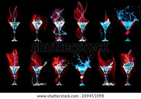 Large cocktail collection isolated on the black  - stock photo