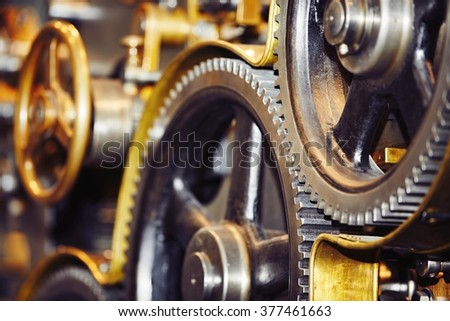 Large cog wheels in the motor - selective focus
