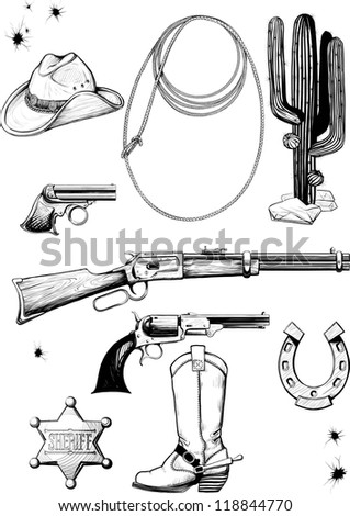 Large collection of cowboy accessories. Weapons, equipment, environment, clothing and lifestyle of the Wild West. Raster version - stock photo