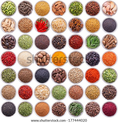 large collection of different spices and herbs isolated on white background - stock photo