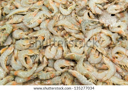 Large collection of fresh prawns in the market
