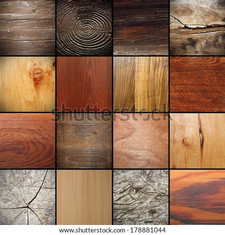 large collection of real beautiful wooden  textures - stock photo