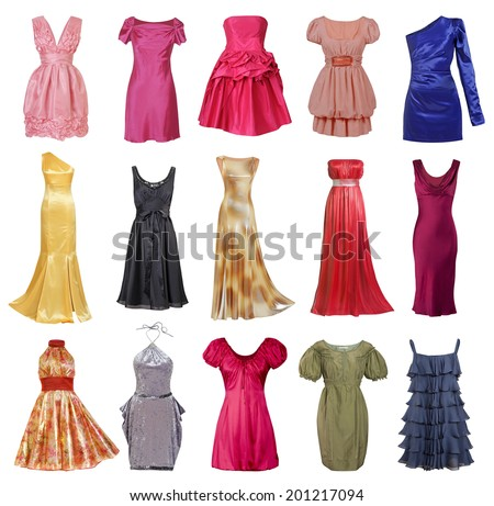 large collection of stylish evening dresses women (isolated on white) - stock photo