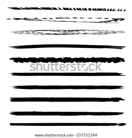 Large collection or set of artistic black paint hand made creative brush strokes isolated on white background, metaphor to art, grunge or grungy, graffiti, sketch, education or abstract design