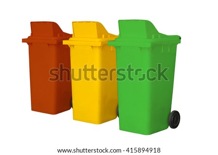 Large colorful trash cans (garbage bins) with wheel collection on white background and Clipping path.