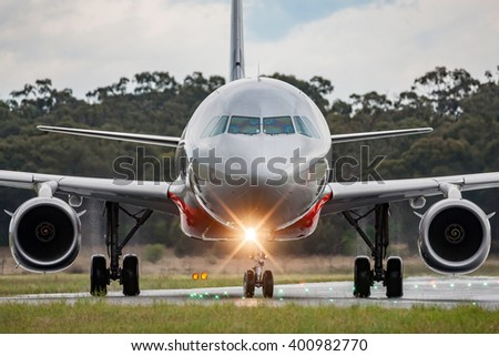 Large commercial airline aircraft - stock photo