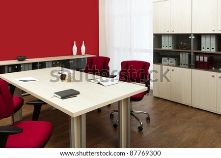 large conference table in a modern office - stock photo
