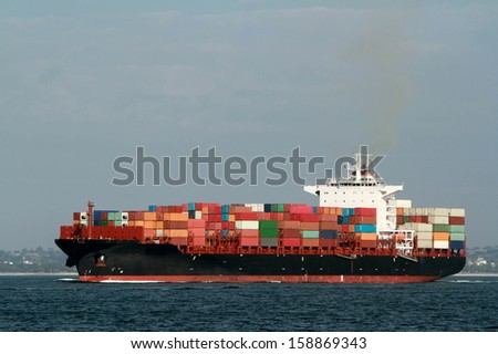 large container cargo ship at sea