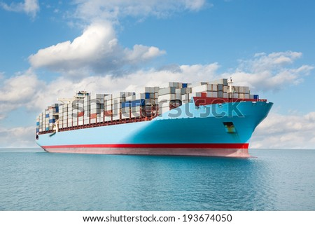 Large container carrier is at sea. - stock photo