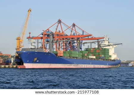 Large container ship in a dock at port, Haydarpasa, Istanbul - Turkey