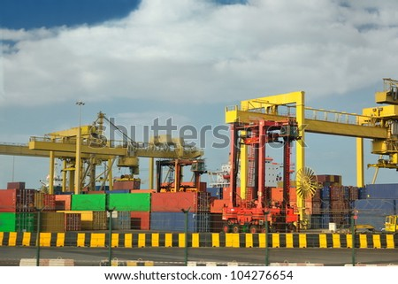 large container ship leaving the container port terminal - stock photo
