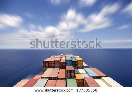 Large container ship move forward, motion blur