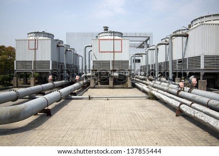 Large cooling tower - stock photo