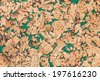 Large corkboard texture with green paint - stock photo