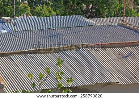 large corrugated roof - stock photo