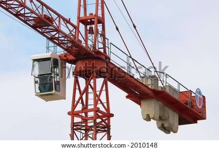 large crane at a construction site - stock photo