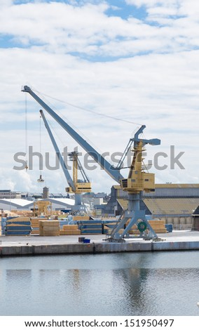 Large crane at a port of loading and unloading