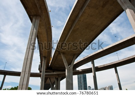 Large crossing elevated traffic highway in thailand - stock photo
