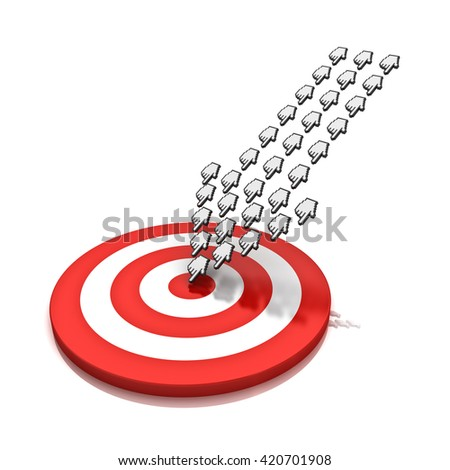 Large crowd of hand cursors forming a arrow hitting the center of target or dart board concept isolated over white background with reflection. 3D rendering. - stock photo