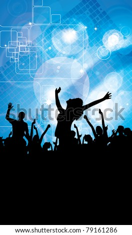 Large crowd of party people - event background. - stock photo