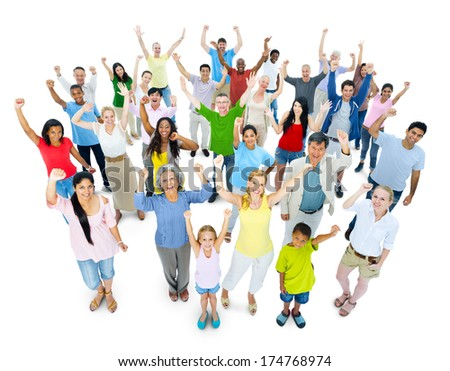 Large crowd of people cheering - stock photo