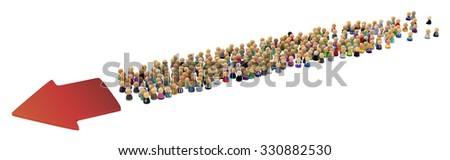 Large crowd of small symbolic 3d figures, with arrow, over white - stock photo