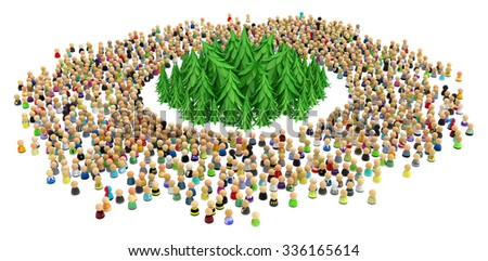 Large crowd of small symbolic 3d figures, with fir forest, over white - stock photo