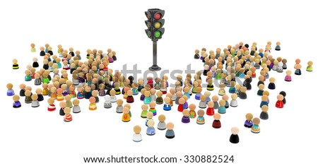 Large crowd of small symbolic 3d figures, with traffic light, over white