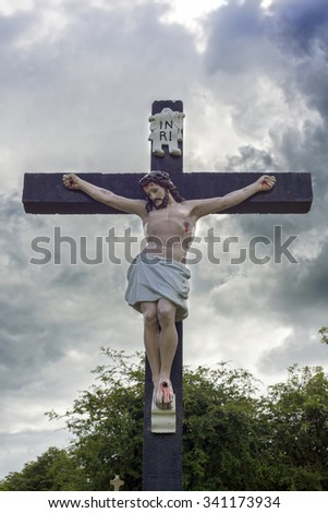 large crucifix in a graveyard in county tipperary ireland - stock photo