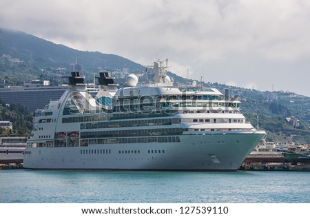 Large cruise liner berthed in the Yalta in Ukraine - stock photo