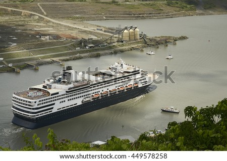 Large cruise ship exiting Pedro Miguel Locks on Panama Canal, Panama - stock photo