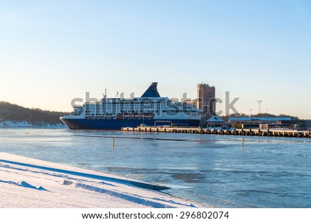 Large cruise ship in Oslo Fjord, Norway - stock photo