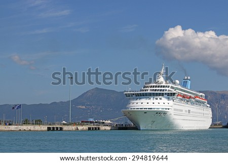 large cruiser ship in port Corfu Greece - stock photo