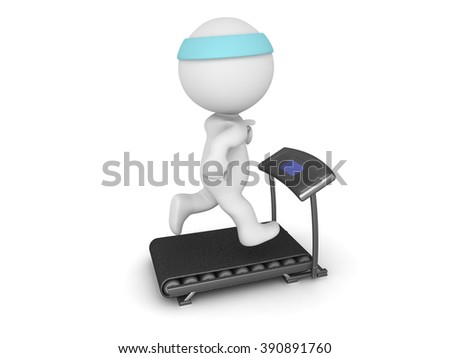 Large 3D character running on a very smal treadmill. Isolated on white background. - stock photo