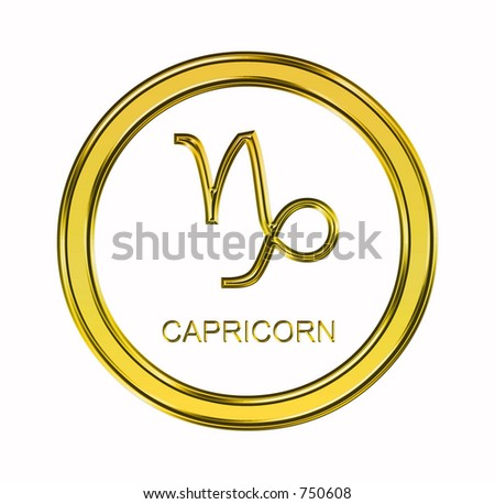 Large 3D gold capricorn symbol on pure white background - stock photo