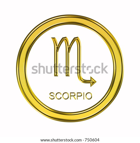 Large 3D gold scorpio symbol on pure white background - stock photo