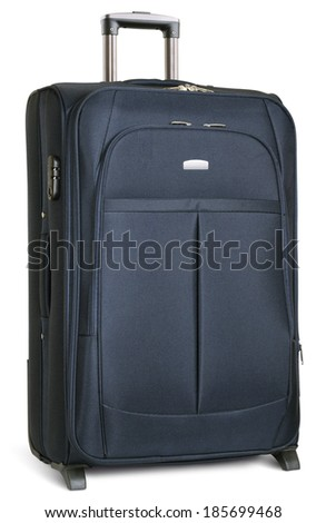 large dark blue suitcase isolated on white. clipping paths - stock photo