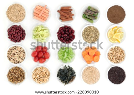 Large diet and weight loss super food selection in porcelain bowls over white background. - stock photo