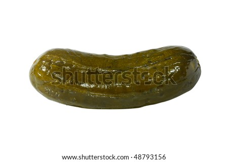 Large dill pickle close-up isolated silhouette with a clipping path on white background - stock photo